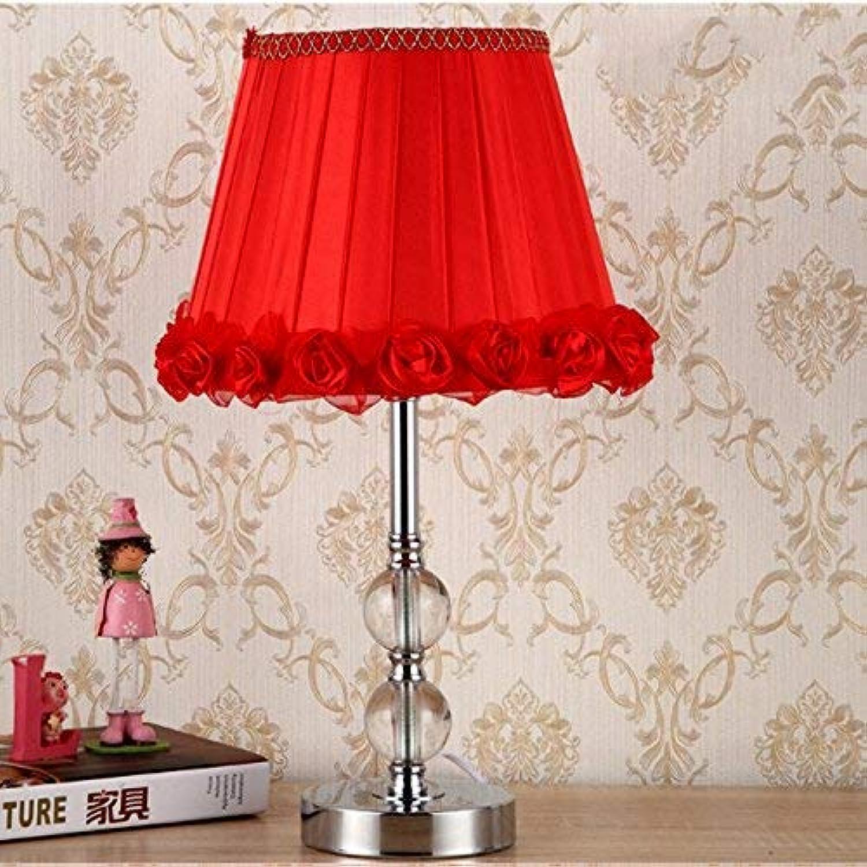AOLI Warm und romantisch Kristall Tischlampe Schlafzimmer Nachttisch Lampe Ehe Zimmer warmes Licht verheiratet Kristall Lampe, H43Cm  W28Cm