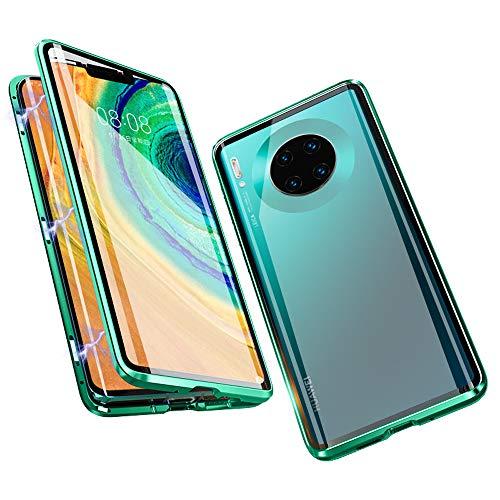Jonwelsy Funda para Huawei Mate 30 Pro (6,53 Pulgada), 360 Grados Delantera y Trasera de Transparente Vidrio Templado Case Cover, de Adsorción Magnética Metal Bumper Cubierta para Mate 30 Pro (Verde)