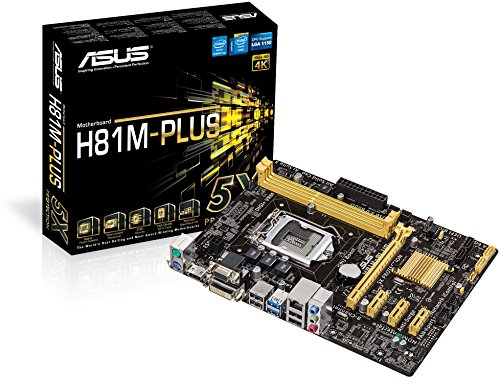 Asus H81M-PLUS Mainboard (Micro-ATX, 2x DDR3 Speicher, 2x SATA III, VGA, DVI-D, HDMI, 2x USB 3.0, geeignet für LGA1150-Sockel für Intel Core i7/i5/i3/Pentium/Celeron)