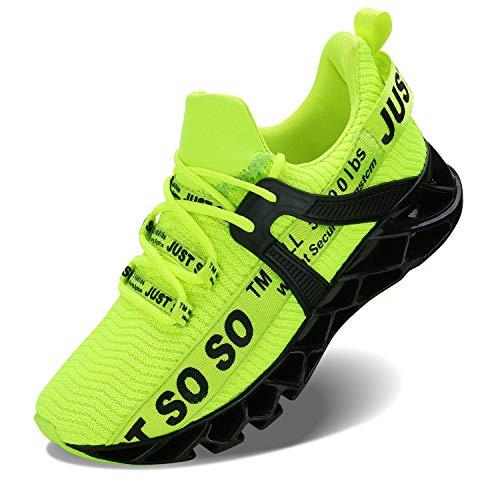 Lingmu Herren athletischen gehenden Schuh-beiläufigen besten Beleg-laufenden Trainings-Trainings-Turnschuhe der Männer, Schwarz Grün, 45 EU