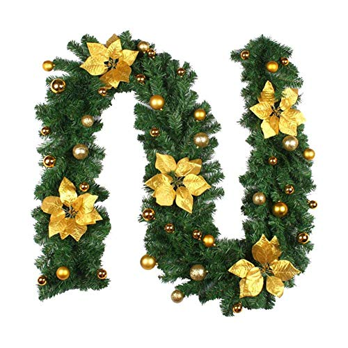 JIAJBG Christmas Garland with Lights, 2.7M Decorated Wreath Xmas Decorative Vine with Christmas Ball, Illuminated Fireplace Stair Wreath with Led Lights, Christmas Decoration Bonsai