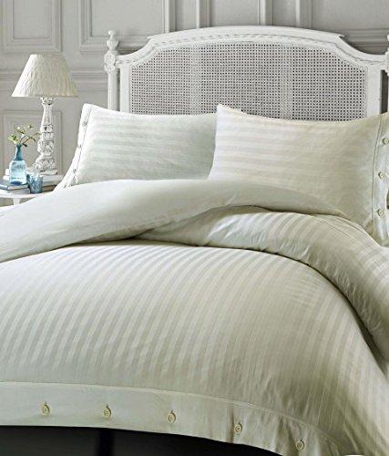 Nimsay Home - Juego de funda de edredón de algodón egipcio, con diseño de rayas, algodón egípcio, crema, suelto