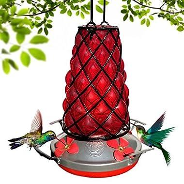 Grateful Gnome Hummingbird Feeder - Hand Blown Glass - Red SpiderBird Lantern
