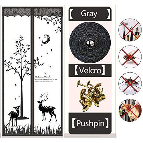WXQY Cortinas Mosquiteras para Puertas, Mosquitera Puertas, Protección contra Insectos, Cortina Ultrafina Sin Perforar, Cierre Automático
