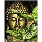 Paint by Number Kits Paintworks Acrylic DIY Oil Painting for Kids and Adults Beginner Buddha Canvas, 16' W x 20' L Buddha Paint with Paintbrushes, Banana Leaf Buddha(Without Frame)