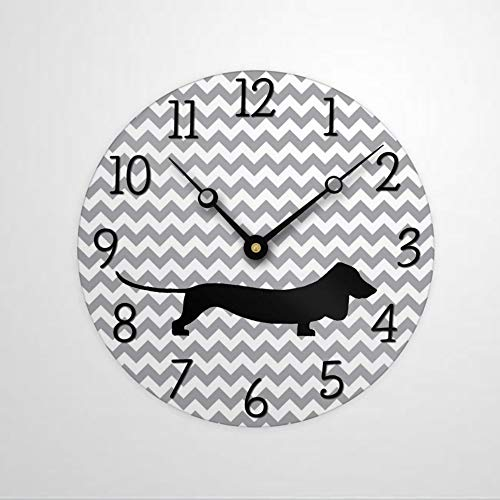 Dachshund - Reloj de pared redondo de madera para amantes de los perros, decoración rústica para el hogar, cocina, dormitorio, baño, oficina, sala de estar, comedor.