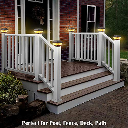DenicMic Fence Post Solar Lights 2 Pack - Solar Powered Post Cap Lights Outdoor Deck Warm White LED Lighting for 4x4 5x5 6x6 Wooden Posts, Patio, Garden, Porch Decorations (Black)