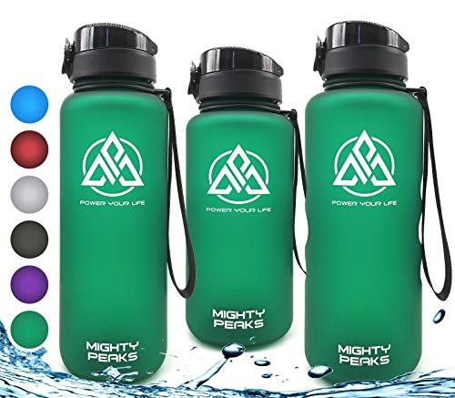 MIGHTY PEAKS Tritan Best Sports Water Bottle 22 oz | Leak-Proof BPA free water bottle 650ml | One Click Open,Eco-Friendly | Green | Ideal Gym Water Bottle for Kids, Adults, Fitness, Yoga, Crossfit