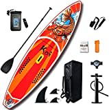 FEATH-R-LITE Inflatable Stand Up Paddle Boards (6 Inches Thick) for Youth & Adult Everything Included with Board, Non-Slip Deck, Travel Backpack, Adj Paddle, Pump, Leash, Water Proof Bag, Repair Kit