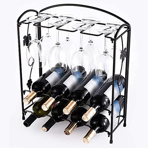 Botelleros De Metal con Soporte para Copa De Vino, Portabotellas De Vino De Pie para 8 Botellas Y 8 Vasos para Bar, Hogar, Café (Color : Matte Bronze)
