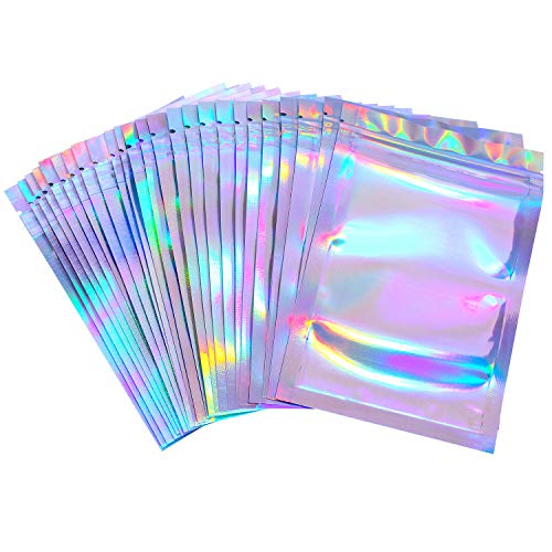 100 Pieces Resealable Smell Proof Bags Foil Pouch Bag Flat Storage Bag for Party Favor Food Storage (Holographic Color, 4x6 Inch )