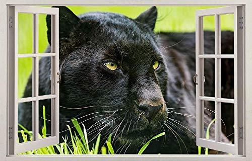 YJYG Pegatinas de pared Panther animal 3d ventana calcomanía etiqueta de la pared decoración del hogar arte mural-j1143 Halloween gift 60 * 90cm