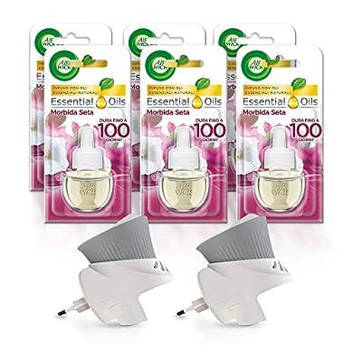 Foto di Airwick Diffusore di Oli Essenziali Elettrico, 1 Confezione con due Profumatori per Ambienti e 6 Ricariche, Fragranza Morbida Seta