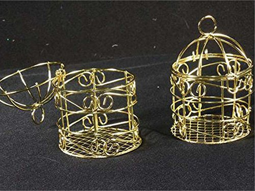 Small Wire Bird Cage Favor (10 PIECES) (GOLD)