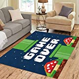 Pinbeam Area Rug Video Pixel Game Over Interface Fungus Colorful Videogame Home Decor Floor Rug 3' x 5' Carpet