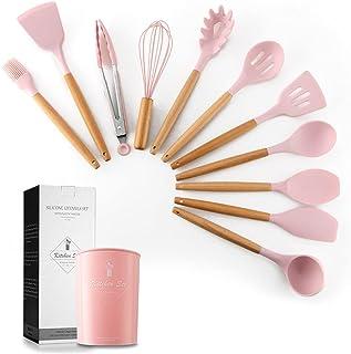 11 قطعة من لدوات المطبخ من السيليكون مع حامل ، مجموعة ادوات من السيليكون للطبخ مع مقبض خشبي خالية من BPA غير سامة وغير لاص...