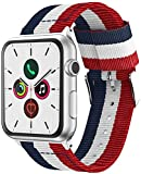 @ccessoryUK - Correa de repuesto compatible con Apple Watch, correa de nailon para Apple Watch Series 6 5 4 3 2 Se (40 mm/38 mm, rojo + blanco + azul)