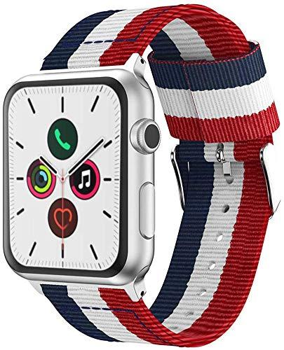 @ccessoryUK Bracelet de Remplacement Compatible avec Apple Watch 44mm / 42mm, Nylon Band Strap pour Apple Watch Series 6 5 4 3 2 Se (Rouge+Blanc+Bleu)