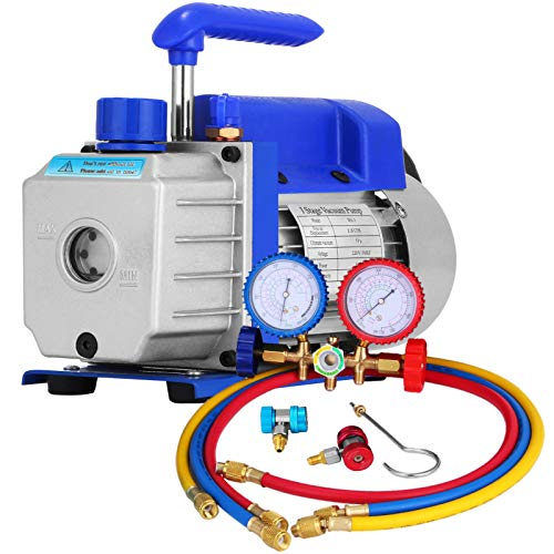 PGDD 1.8 CFM A/C pompa a vuoto, 1/4 HP automatico kit pompa a vuoto, radiatore intelligente, condizionatore d'aria frigorifero con calibro 220V, riparazione auto, auto