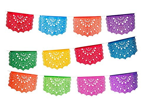 Paper Full of Wishes - 2pk Medium Plastic Papel Picado Banners - Las Palomas - Each Banner is 12 Panels and 15 ft Long Hanging