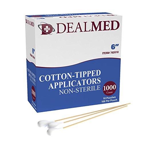 Dealmed 6' Cotton-Tipped Wood Applicators, Non-Sterile, 100 per Pouch, 10 Pouches (1000 Count)