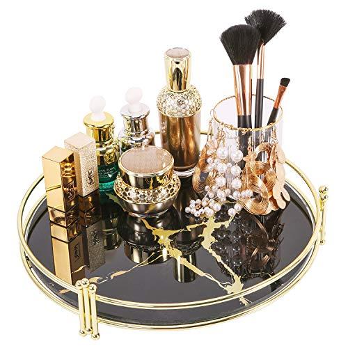 Simmer Stone Bandeja organizadora de maquillaje, bandeja decorativa de cristal, almacenamiento...
