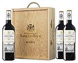 Marques De Riscal Vino tinto Reserva Denominación de Origen Calificada Rioja, Variedad Tempranillo, 24 meses en barrica - Estuche de madera 3 botellas x 750 ml - Total: 2250 ml