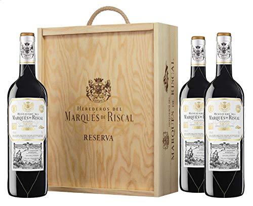 Marqués de Riscal - Vino tinto Reserva Denominación de Origen Calificada Rioja, Variedad Tempranillo, 24 meses en barrica - Estuche de madera 3 botellas x 750 ml - Total: 2250 ml