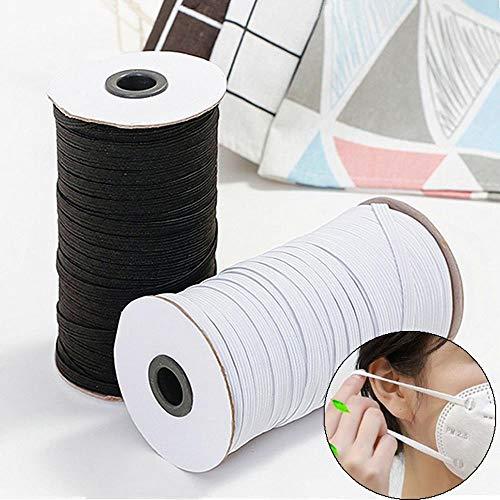 Polyester band grootte witte strepen Zwarte elastisch touw kleding voor DIY Naaien van kleding touw,6MM 130M BLANCO