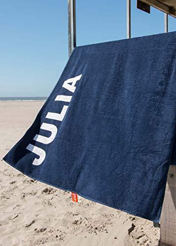 S< Strandtuch mit Name - personalisierte Bedrucking - XXL Saunatuch - Strandtuch 100x200 aus Baumwolle (Dunkelblau)