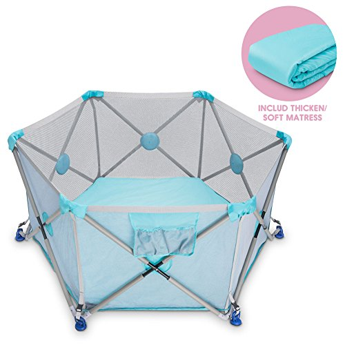 D.LIN Playpen Pop N' Portable Playard for Babies/Toddler/Newborn/Infant with Travel Bag,6-Panel,More Protect,More Funny Time [ Blue ]