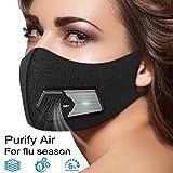 Negro Inteligente eléctrica Protector Facial - Filtro de carbón Activado - Lucha contra la contaminación del Polvo purificador de Aire Reutilizable - 5 con Filtro Compuesto