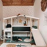 Nature Kid - Hausbett Cory mit Dach und Rutsche, aus Kiefer Weiß/Natur lackiert wasserbasis, Kinderbett Spielburg Spielbett Hüttenbett Jugendbett Baumhaus Holz Kinder