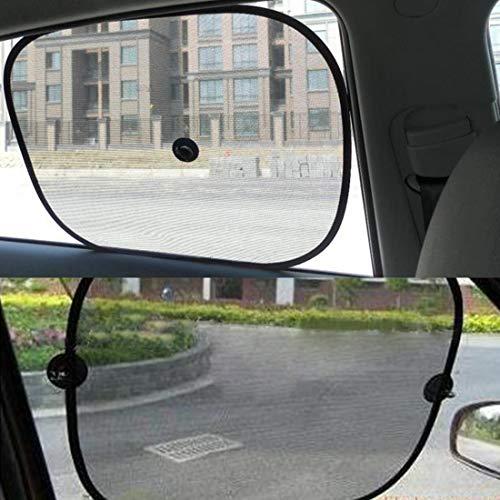 XUJINQI auto zonwering vensterruit autoraam vouwbare schaduw voor zijblokken UV-stralen met zuignappen (2 stuks)