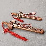 Spada in Legno di Pesca Feng Shui Shen Jian,Spada Cinese Tradizionale in Legno di Pesca per scacciare Gli Spiriti maligni,22 cm+28.5cm,2 Pezzi,Artigianale,Decorazione per la casa