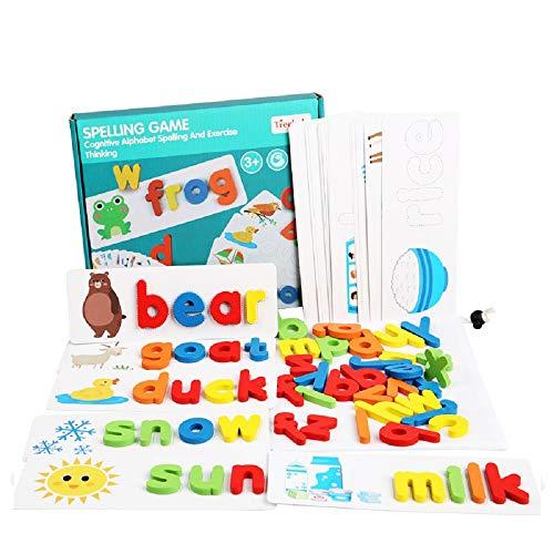 Jeux d'orthographe en bois, jeux de lecture et d'orthographe MLZYKYJZ assortis de puzzles alphabétiques adaptés aux tout-petits garçons et filles de plus de 3 ans