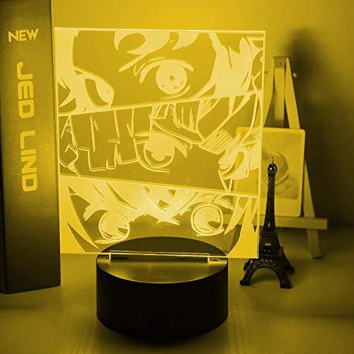 Luz de noche LED de ilusión 3DAnimeAmbiente de siete colores Regalo decorativo de Navidad Dormitorio de bebé Luz de decoración de cabecera-16 color remote control
