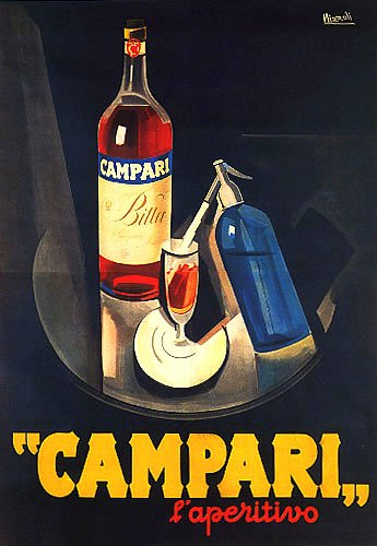 "CAMPARI L'APERITIVO ALCOHOLIC LIQUEUR BITTER RED TRAY SPARKLING WATER ITALIAN DRINK 16"" X 24"" IMAGE SIZE VINTAGE POSTER REPRO"