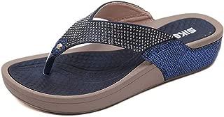 OTOSU Women's Rhinestone Flat Flip Flop Sandals Clip Toe Low Heel Platform Glitter Beach Thong Sandal