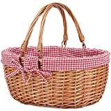 G GOOD GAIN Wicker Picnic Basket with Double Folding Handles,Willow Picnic Hamper,Natural Hand Woven Easter Basket,Easter Eggs and Candy Basket,Bath Toy and Kids Toy Storage,Gift Packing Basket.Red