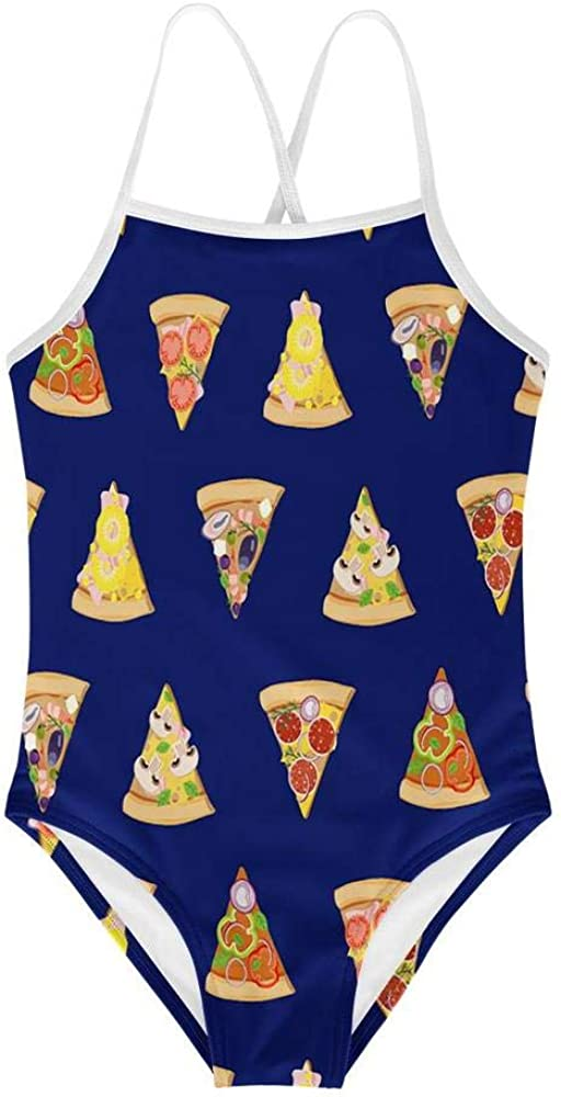 KiuLoam Pizza Blue Girls Swimwear One Piece Swimsuits Bathing Su