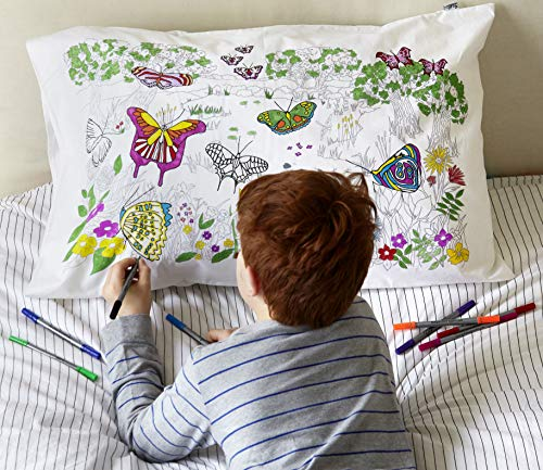 eatsleepdoodle Butterfly pure cotton soft Pillowcase - Colour Your Own Doodle Pillow Case with butterflies of the world - Kid's Butterfly Colouring Pillowcase with Washable felt tip Fabric Pens