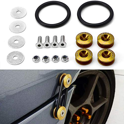 Dewhel Universal JDM Quick Release Fasteners For Car Bumpers Trunk Fender Hatch Lids Kit Gold