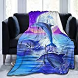 TinaCobur Dolphins Flannel Fleece Throw Blanket 50'x60' Living Room/Bedroom/Sofa Couch Warm Soft Bed Blanket for Kids Adults All Season