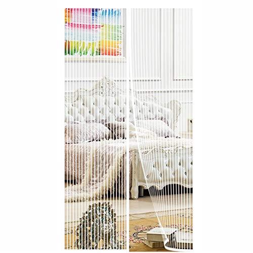ERPENG Fliegennetz Vorhang 100x260cm Moskitonetz Magnetverschluss Fliegenvorhang Vorhang kinderleichte Klebemontage Ohne Bohren für Wohnzimmer Schiebetür Terrassentür, Weiß