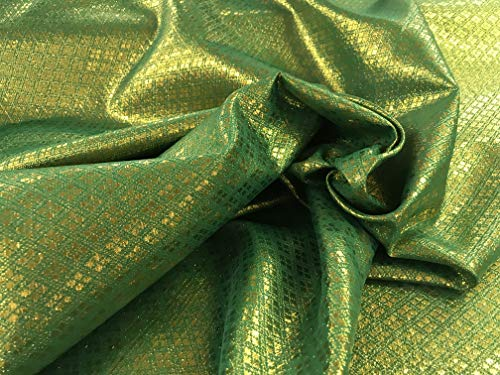 Amornphan 44 Inches Green and Gold Diamond Metallic Glitter 2-Tones Bling Brocade Fabric Craft Drape Tablecloth Decor by The Yard (Green&Gold)