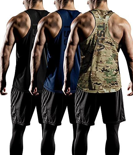 TSLA Men's Dry Fit Y-Back Muscle Workout Tank Tops, Athletic Training Gym Tank Top, Sleeveless Bodybuilding Shirts, Y-Back 3pack Black/Utility Camo/Navy, Large