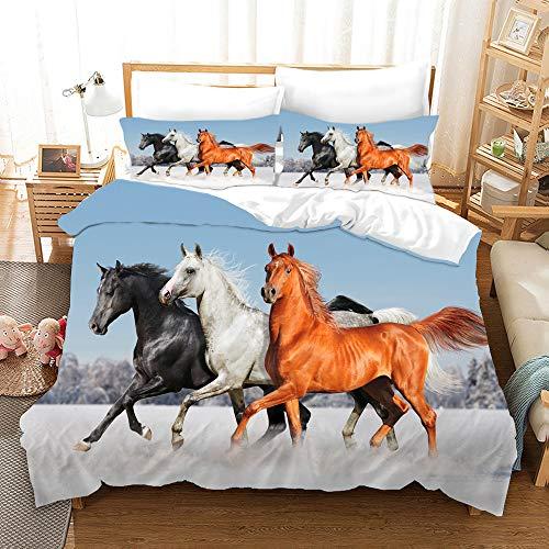 DDONVG Juego de cama (funda nórdica de 135 x 200 cm y dos fundas de almohada, microfibra, impresión digital 3D de 220 x 260 cm), diseño de caballos