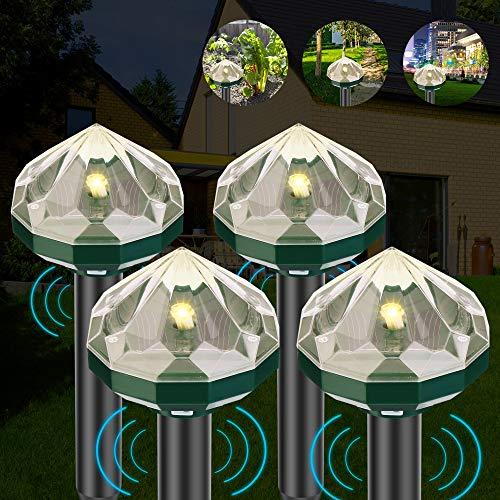 OVAREO Solar Maulwurfabwehr, 2021Neu Ultrasonic Solar Maulwurfschreck, IP56 Maulwurfbekämpfung, Wühlmausschreck, Mole Repellent, Schädlingsbekämpfung mit Rautenförmige Warmweißlich für Den Garten
