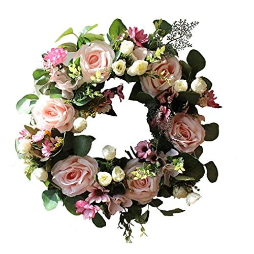 Yililay Guirnalda Floral Artificial Falso de la Puerta de la Guirnalda de Rose romántica Simulación de la Guirnalda de Fiesta de la Boda decoración del hogar Rosa Claro